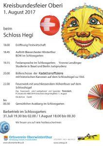 Kreis-Bundesfeier Oberi @ Schlossgartenareal Schloss Hegi | Winterthur | Zürich | Schweiz